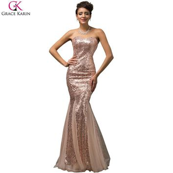 Grace Karin Long Mermaid Prom Dresses Strapless Sequin Tulle Elegant Formal Pageant Ball Gowns Purple Wedding Party Dress Prom