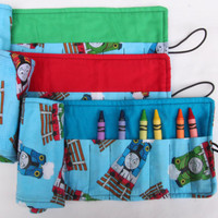 Crayon Roll Thomas the Train, Thomas and Friends Crayon Holder, Birthday Party Favor, 16 Crayola Crayons Included