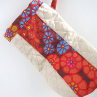 Oven Mitts pot holder- red flowers