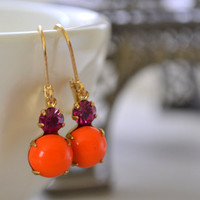 Orange and Fuchsia Glass Estate Earrings, Lever Back Brass, Vintage Hot Pink and Tangerine Rhinestone Earrings