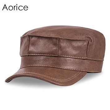 Men Leather Army Hat