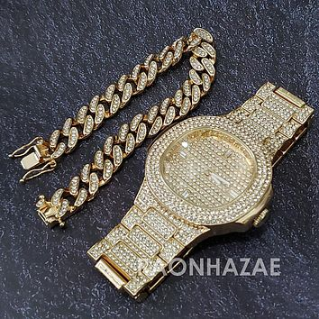 Raonhazae Hip Hop Iced Lab Diamond Drake 14K Gold Plated Watch with 12mm Cuban Link Bracelet Set