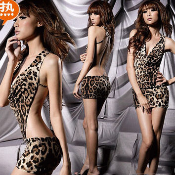 Women Sexy Lingerie Backless Leopard Dress Evening Sexy Sleepwear Nightgown Sexy Uniform Costume Backless women gift