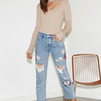 Kendall & Kylie Winter Floral Embroidered Ripped Boyfriend Jeans at PacSun.com