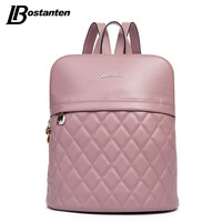 BOSTANTEN Plaid Brand Genuine Leather Women Backpack Casual School Bags For Teenagers Girls High Quality Female Travel Back Pack