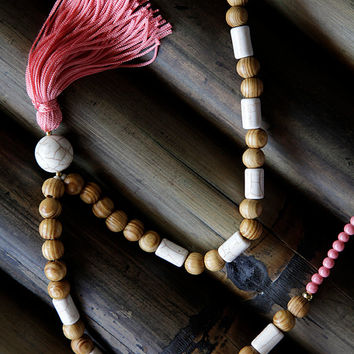 long,tassel,necklace,handmade,made of round wooden beads,and precious white turquoise beads,gifts,summer jewelry,women