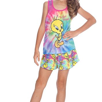 Looney Tunes Girls' Looney Toons Tweety Racerback Pajama Short Set
