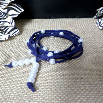 6 Wrap Boho Navy Blue Suede Leather White Pearl Multi Wrap Bracelet, Lariat Choker Necklace, Anklet - Pick COLOR / LENGTH Usa Seller, gift