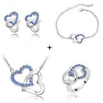 (Min order $10 mix)Hot fashion simple to tie the knot heart to heart necklace earrings bracelet ring family of four loaded -048