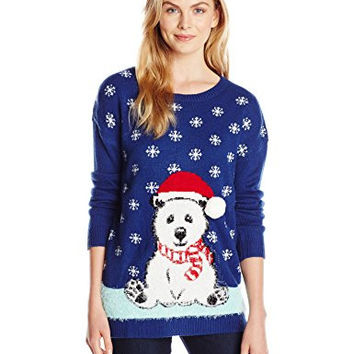 Notations Women's Fuzzy Santa Hat Polar Bear Pullover Ugly Christmas Sweater, Fluffy, Medium