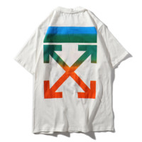 Off White New Fashion Pattern Print Women Men Top T-Shirt White