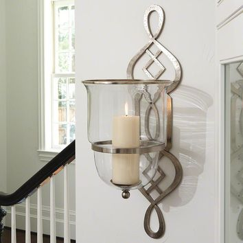 Silver Candle Wall Sconce