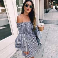 Summer Sexy Women Off Shoulder Stripe Flared Sleeves Dress