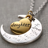 I Love You To The Moon and Back Necklace with Engraving