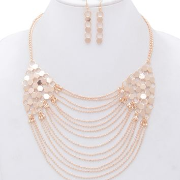 Olivia Multi Chain Statement Necklace and Matching Earrings Set