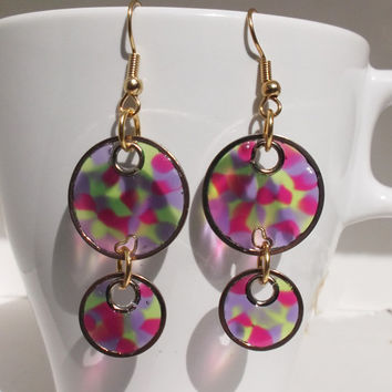 70s Circles (Faux Stained Glass) Earrings - mother's day, gift for her, girlfriend, sister, teenager, geek, pink, birthday