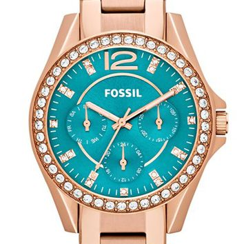 Women's Fossil 'Riley' Round Crystal Bezel Bracelet Watch, 38mm - Rose Gold/ Turquoise