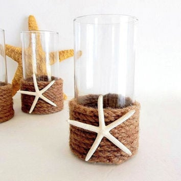 Starfish Rope Vase or Candle Holder, Beach Decor, Nautical Ocean Decor, natural sisal rope twine seashell sea shell decor, shell container