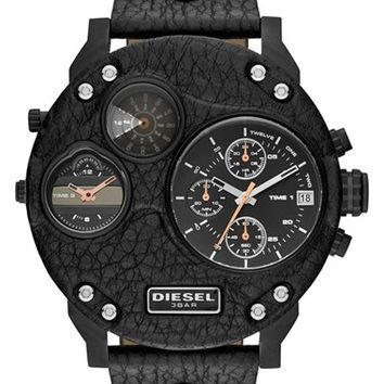 Men's DIESEL 'Mr. Daddy - Biker' Chronograph Leather Strap Watch, 57mm - Black