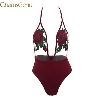 Chamsgend Sexy Bodysuit Women Sexy Embroidery Rose See Through Halter Jumpsuit Summer Beach Suit 7901