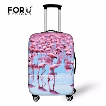 FORUDESIGNS 3D Animal Flamingo Print Luggage Protective Cover Spandex Elastic Case for 18-30 Inch Covers Anti Dust Rain Suitcase