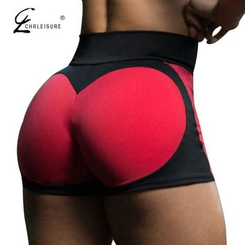 CHRLEISURE Women's High Waisted Shorts Summer Sexy Love Patchwork Shorts Mujer Push Up Workout Tight Shorts