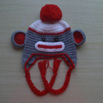 Crochet Red Sock Monkey Baby Beanie/Hat