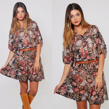 Vintage 70s AUTUMN Floral Mini Dress Black YOUNG EDWARDIAN Blouson Dolman Sleeve Boho Mini Dress