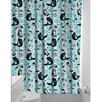 Blue & Black Mermaid Shower Curtain