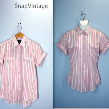 80s Vintage Mens Shirt / Pearl Snap Western Shirt / Pink Striped Shirt