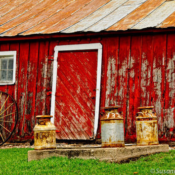 Barn Photography, Red Barn with Milk Cans, Rural Minnesota, Old and Rustic, Springtime, Farming, Country Style, Home Decor