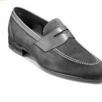 Men Gray Grey Suede Penny Loafer Leather Shoes