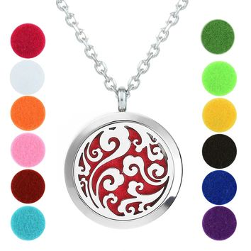 Ocean Waves - Essential Oil Diffuser Necklace - Aromatherapy Jewelry - Stainless Steel