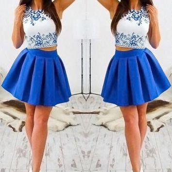 New Women Blue Floral Patchwork Print Pleated Two Piece Round Neck Mini Dress