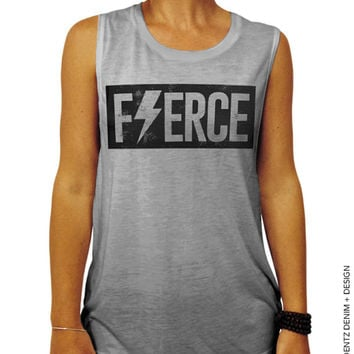 Fierce - Gray Muscle Tee Tank T-shirt