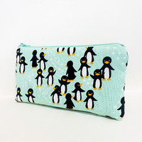 Zipper Pouch Cosmetic Pouch Toiletry Bag Silly Chlly Penguins in Mint