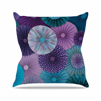 "Heidi Jennings ""Amethyst Glacier"" Teal Purple Throw Pillow"