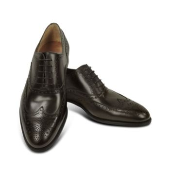 Fratelli Rossetti Designer Shoes Dark Brown Calf Leather Wingtip Oxford Shoes