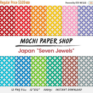 50% OFF Japanese Digital Paper, Asian Motif Paper Download, Colorful Scrapbook Paper, Geometric Patterned Paper, Instant Download, PNG Files