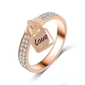 Love PadLock Charm Crystal Ring