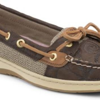Sperry Top-Sider Angelfish Rope Embossed Slip-On Boat Shoe BrownRopeLeather, Size 6.5M  Women's Shoes