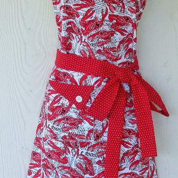 Cute Apron, Lobster Print Apron, Red Polka Dots, Womens Full Apron, Retro Style Apron, KitschNStyle