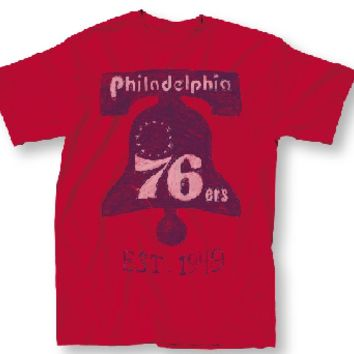 Vintage Inspired Mens Philadelphia 76ers Retro Logo Tee Shirt