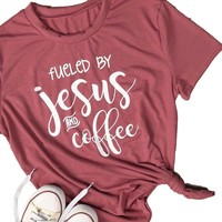 """Women's Rust Red """"Fueled by Jesus and Coffee"""" Graphic Printed  T-Shirt Top"""