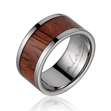 GENUINE INLAY HAWAIIAN KOA WOOD WEDDING BAND RING TITANIUM 10MM SIZE 5-14