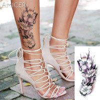 sexy romantic dark rose flowers flash fenna tattoos fake Waterproof temporary tattoos stickers body art Tattoo sleeve