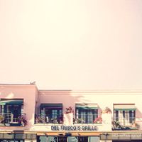 Pink Santa Monica Building Beach Photography Los Angeles California flowers Summer Fine Art Nursery Print Cottage Decor