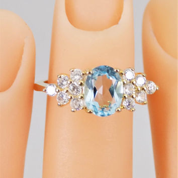 Gold Filled Blue Topaz Ring, Clear Rhinestones, Vintage Cocktail Ring