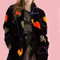 Vintage Heart Print Faux Fur Coat L Oversized Chubby Black Novelty Donnybrook Club Rave 80s