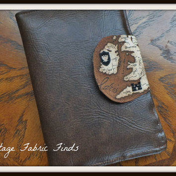 Brown Vinyl Faux Leather Old World Map E-Reader Cover Kindle , Nook Cover, Kobo Cover, Kindle Fire Cover, Kindle Touch Cover Made to Order